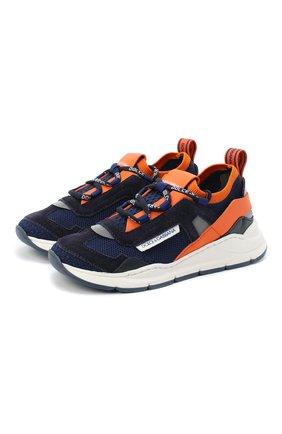 Детские кроссовки DOLCE & GABBANA оранжевого цвета, арт. DA0904/AX036/29-36 | Фото 1 (Материал внешний: Текстиль; Материал внутренний: Натуральная кожа; Стили: Гранж)