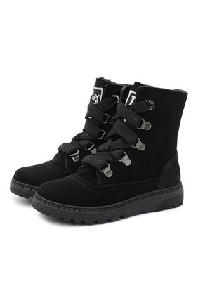 Детские замшевые ботинки DOLCE & GABBANA черного цвета, арт. DA0744/AW750/29-36 | Фото 1