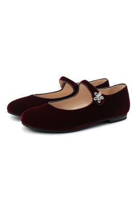 Детские туфли IL GUFO бордового цвета, арт. G285/VELLUT0 ACC0PP/35-42 | Фото 1