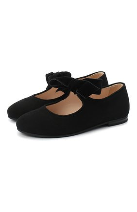 Детские замшевые туфли IL GUFO черного цвета, арт. G295/SUEDE/27-30   Фото 1