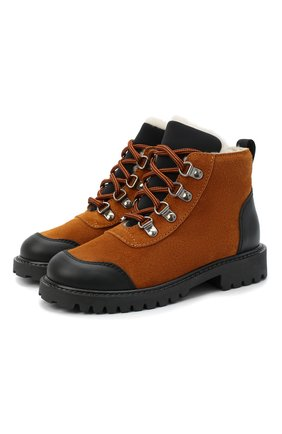 Детские замшевые ботинки IL GUFO коричневого цвета, арт. G420/VEL0UR/27-30   Фото 1