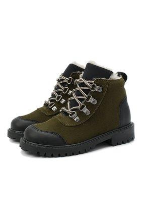 Детские замшевые ботинки IL GUFO хаки цвета, арт. G420/VEL0UR/27-30 | Фото 1 (Кросс-КТ: хайкеры; Материал утеплителя: Натуральный мех)