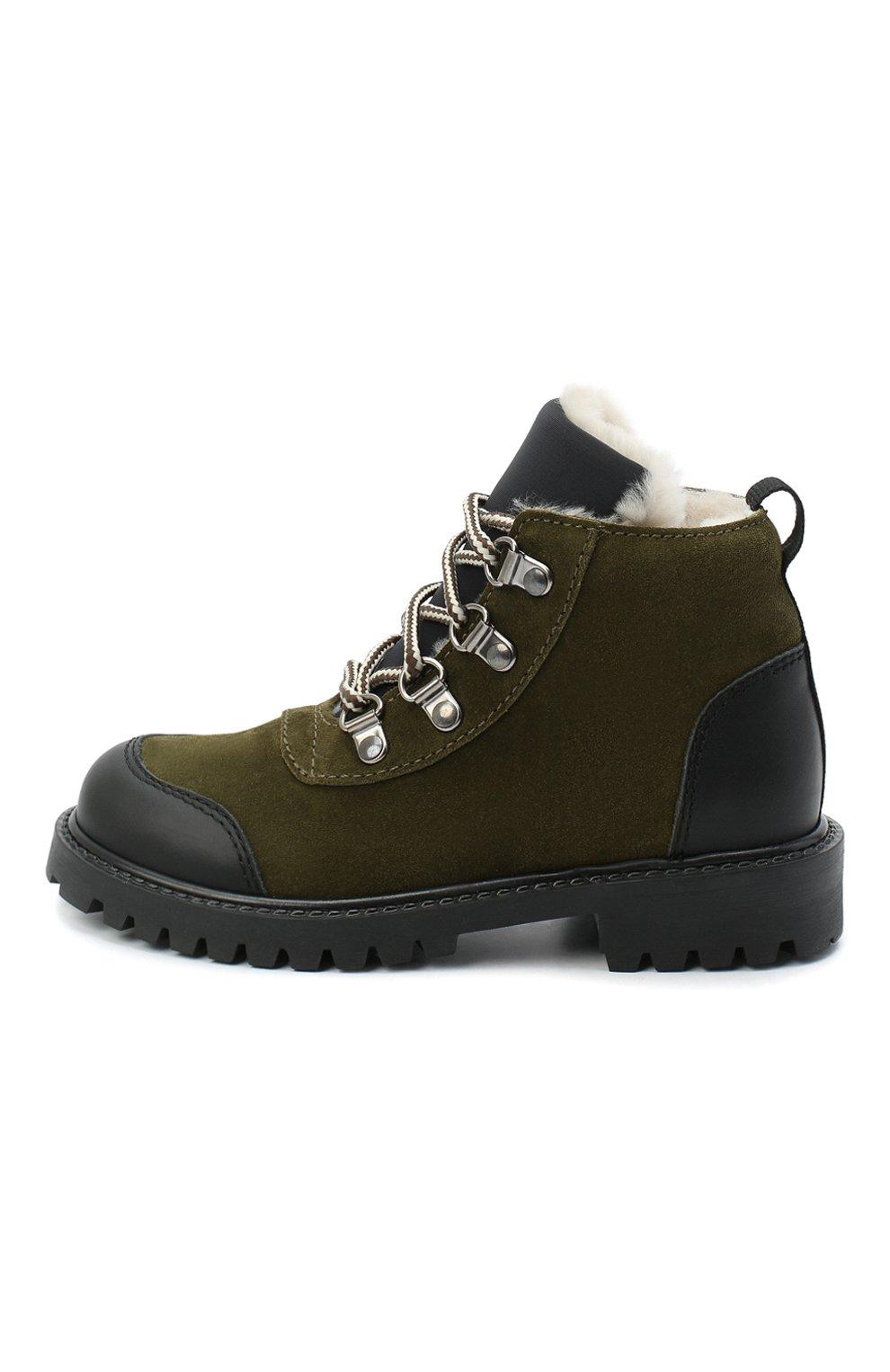 Детские замшевые ботинки IL GUFO хаки цвета, арт. G420/VEL0UR/27-30 | Фото 2 (Кросс-КТ: хайкеры; Материал утеплителя: Натуральный мех)
