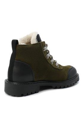 Детские замшевые ботинки IL GUFO хаки цвета, арт. G420/VEL0UR/27-30 | Фото 3 (Кросс-КТ: хайкеры; Материал утеплителя: Натуральный мех)