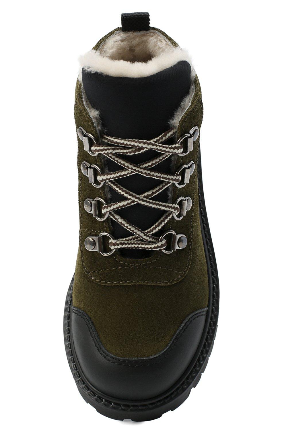 Детские замшевые ботинки IL GUFO хаки цвета, арт. G420/VEL0UR/27-30 | Фото 4 (Кросс-КТ: хайкеры; Материал утеплителя: Натуральный мех)