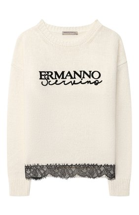 Детский пуловер ERMANNO SCERVINO бежевого цвета, арт. 47I MG10 WAN/10-16 | Фото 1