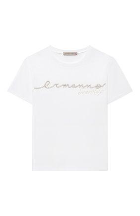 Детская хлопковая футболка ERMANNO SCERVINO белого цвета, арт. 47I TS08 JEA/4-8 | Фото 1 (Материал внешний: Хлопок; Рукава: Короткие; Девочки Кросс-КТ: футболка-одежда; Ростовка одежда: 4 года | 104 см, 6 лет | 116 см, 8 лет | 128 см)