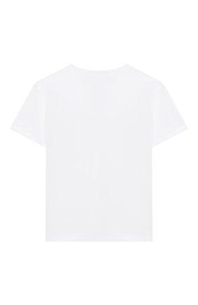 Детская хлопковая футболка ERMANNO SCERVINO белого цвета, арт. 47I TS08 JEA/4-8 | Фото 2 (Материал внешний: Хлопок; Рукава: Короткие; Девочки Кросс-КТ: футболка-одежда; Ростовка одежда: 4 года | 104 см, 6 лет | 116 см, 8 лет | 128 см)