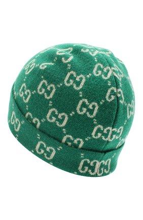 Детского шерстяная шапка GUCCI зеленого цвета, арт. 627562/4K206   Фото 2