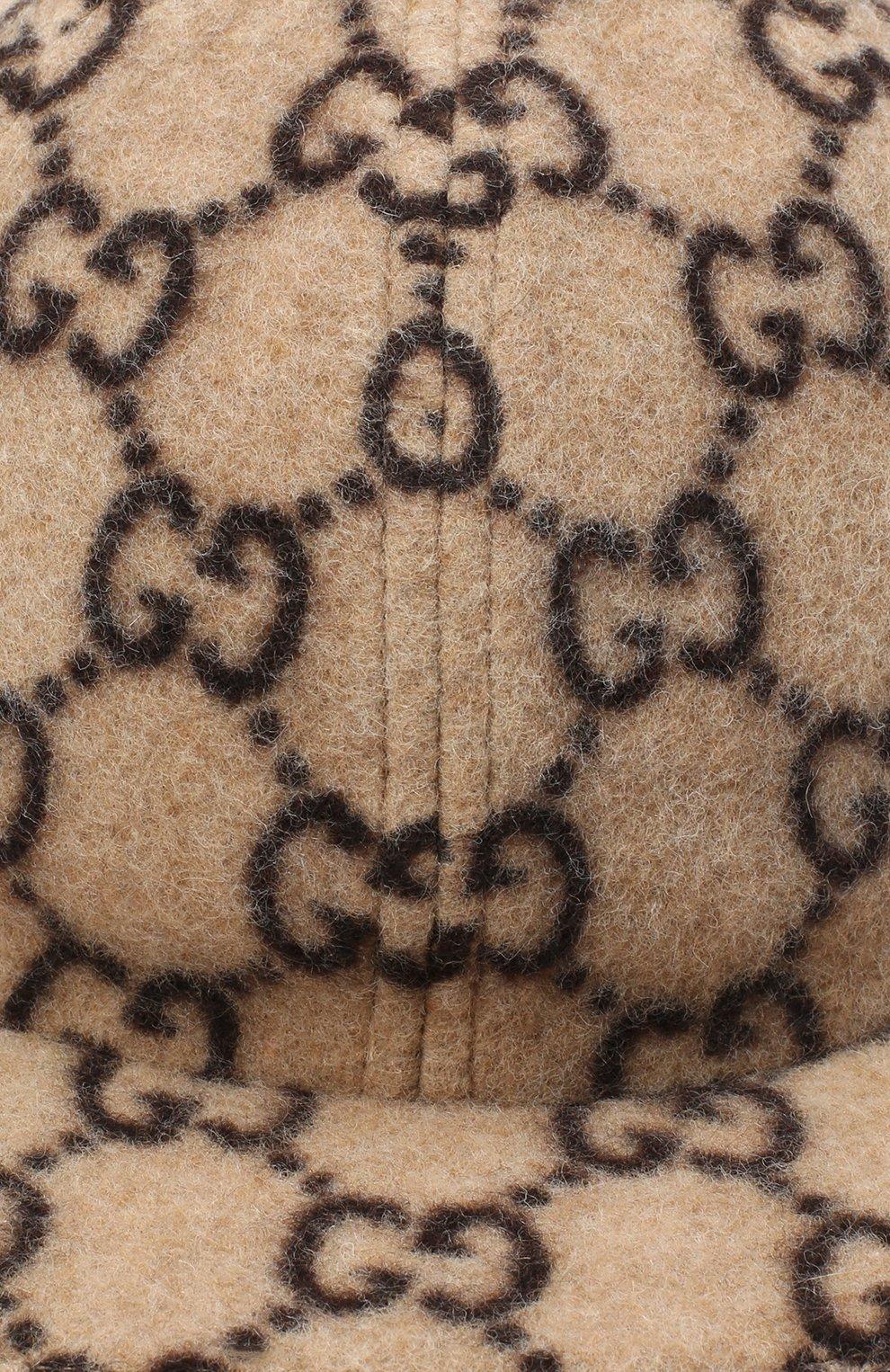 Детская шерстяная кепка GUCCI бежевого цвета, арт. 481774/4HM23 | Фото 3