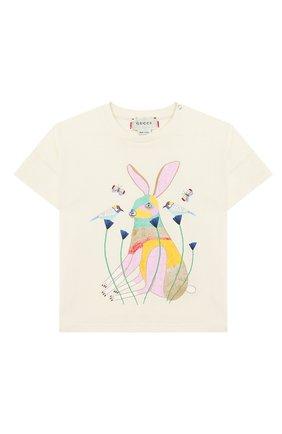 Детский хлопковая футболка GUCCI белого цвета, арт. 631689/XJCS7 | Фото 1