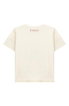 Детский хлопковая футболка GUCCI белого цвета, арт. 631689/XJCS7 | Фото 2