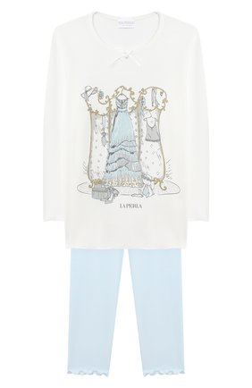 Детская пижама LA PERLA бежевого цвета, арт. 55161/2A-6A | Фото 1
