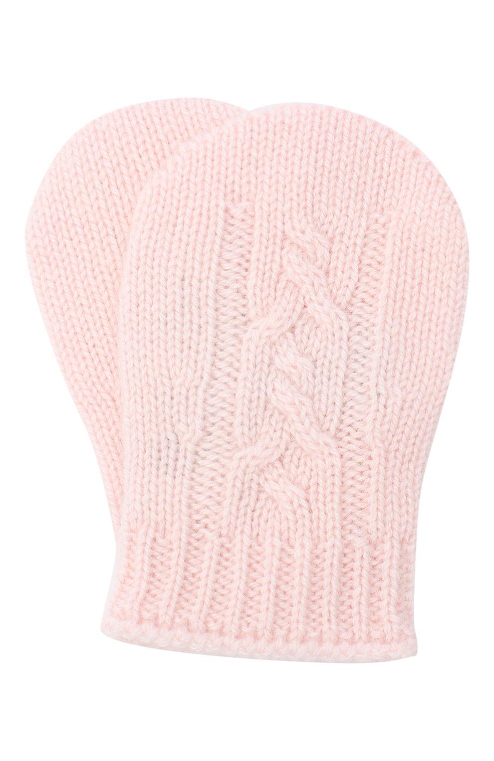 Детские кашемировые варежки LORO PIANA светло-розового цвета, арт. FAI7186 | Фото 1