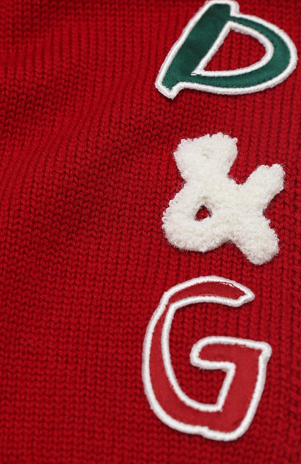 Детский шерстяной шарф DOLCE & GABBANA красного цвета, арт. LBKA47/JAVWK | Фото 2 (Материал: Шерсть)