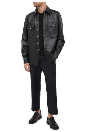 Мужская кожаная рубашка GUCCI черного цвета, арт. 624736/XNALJ | Фото 2