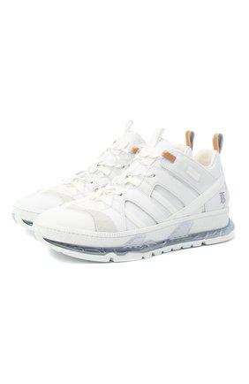 Мужские комбинированные кроссовки union BURBERRY белого цвета, арт. 8021048 | Фото 1
