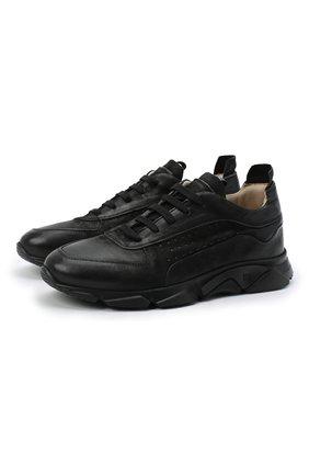 Мужские кожаные кроссовки MOMA черного цвета, арт. 4AW139-BA | Фото 1