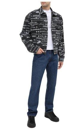 Мужские кожаные кеды portofino DOLCE & GABBANA черного цвета, арт. CS1802/AW113 | Фото 2