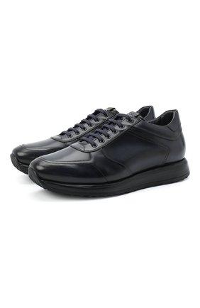Мужские кожаные кроссовки W.GIBBS синего цвета, арт. 8491001/2304 | Фото 1