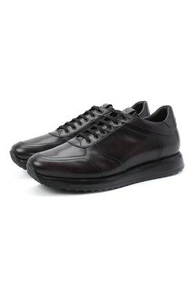 Мужские кожаные кроссовки W.GIBBS темно-коричневого цвета, арт. 8491001/2304   Фото 1
