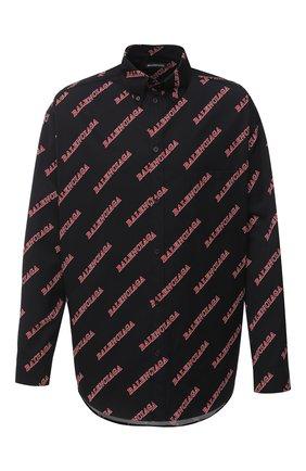 Мужская хлопковая рубашка BALENCIAGA черного цвета, арт. 627023/TILR8 | Фото 1