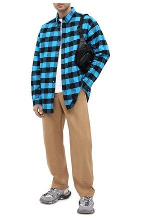 Мужская хлопковая куртка-рубашка BALENCIAGA синего цвета, арт. 626327/TIM26   Фото 2