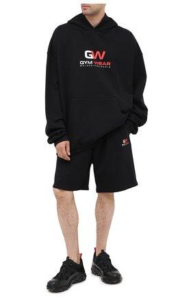 Мужские хлопковые шорты BALENCIAGA черного цвета, арт. 626312/TIVD4 | Фото 2