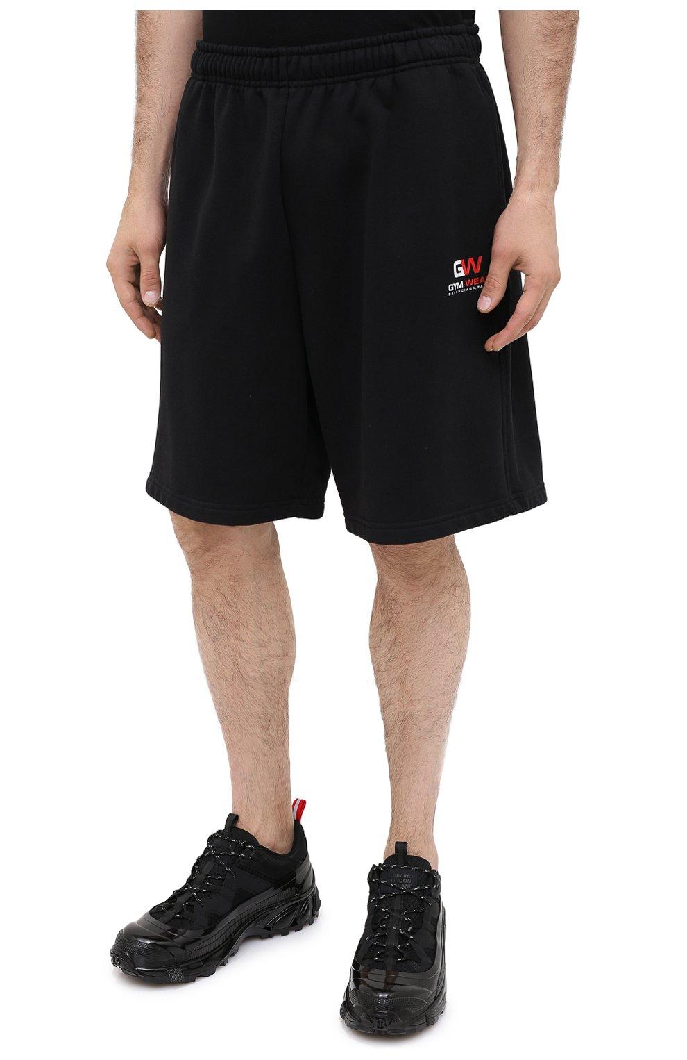 Мужские хлопковые шорты BALENCIAGA черного цвета, арт. 626312/TIVD4 | Фото 3