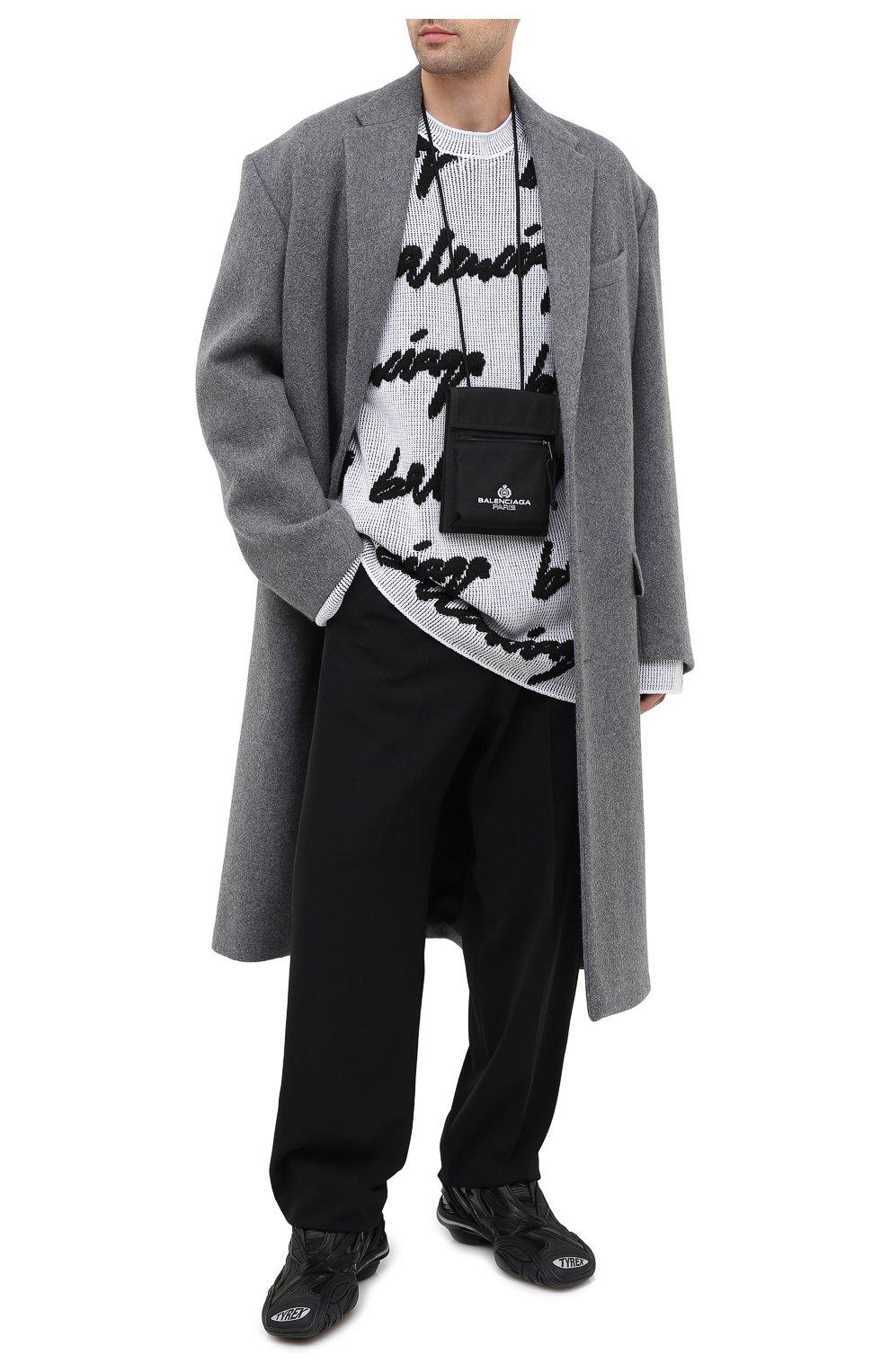Мужской свитер из хлопка и шерсти BALENCIAGA черно-белого цвета, арт. 625985/T3180   Фото 2