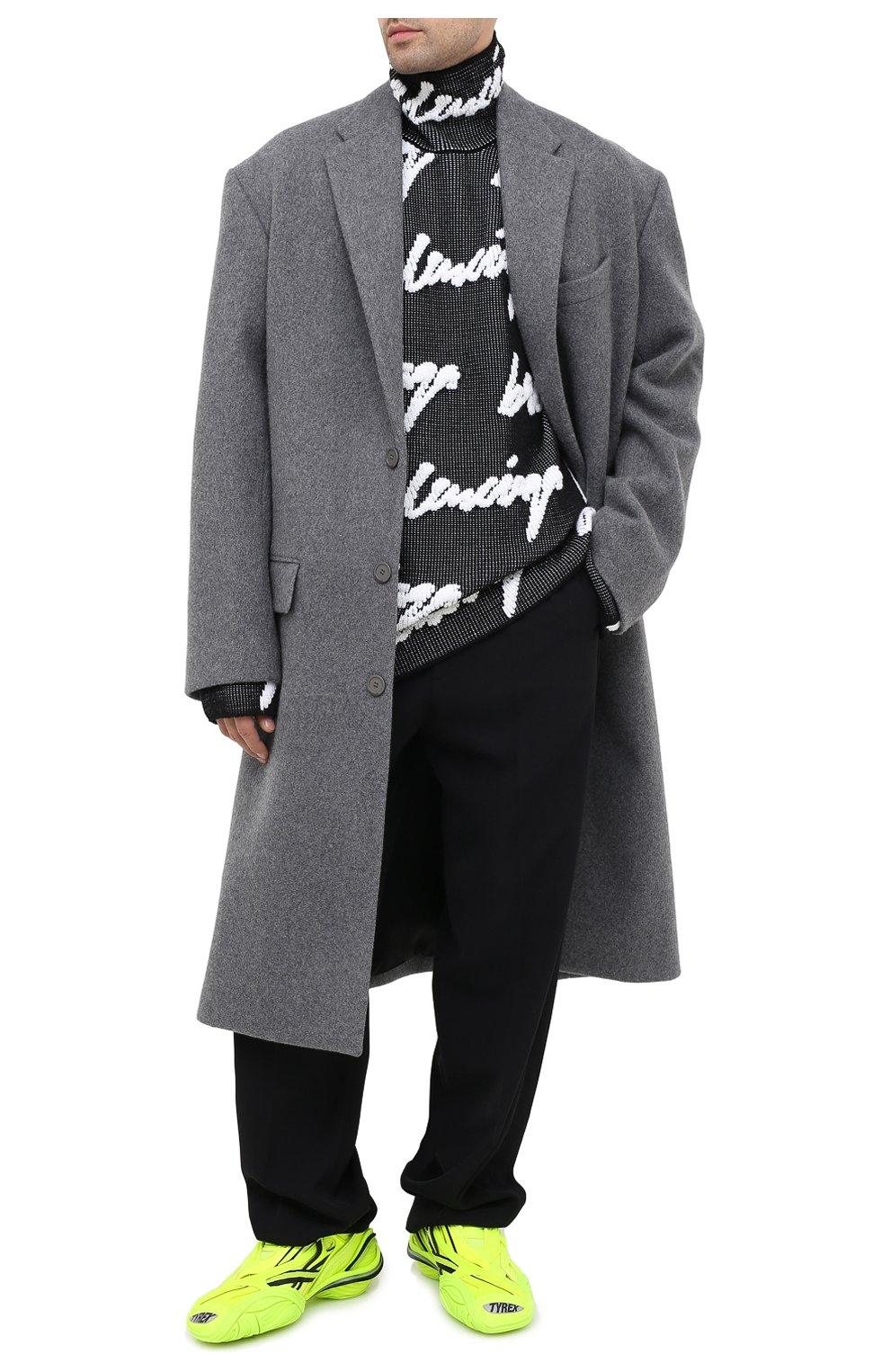 Мужской свитер из хлопка и шерсти BALENCIAGA черно-белого цвета, арт. 625927/T3180 | Фото 2