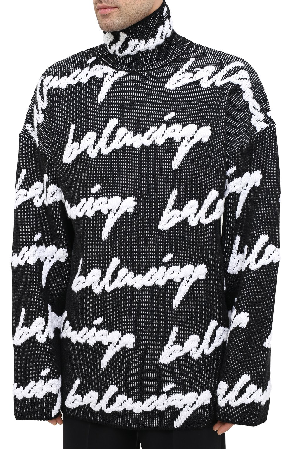 Мужской свитер из хлопка и шерсти BALENCIAGA черно-белого цвета, арт. 625927/T3180 | Фото 4
