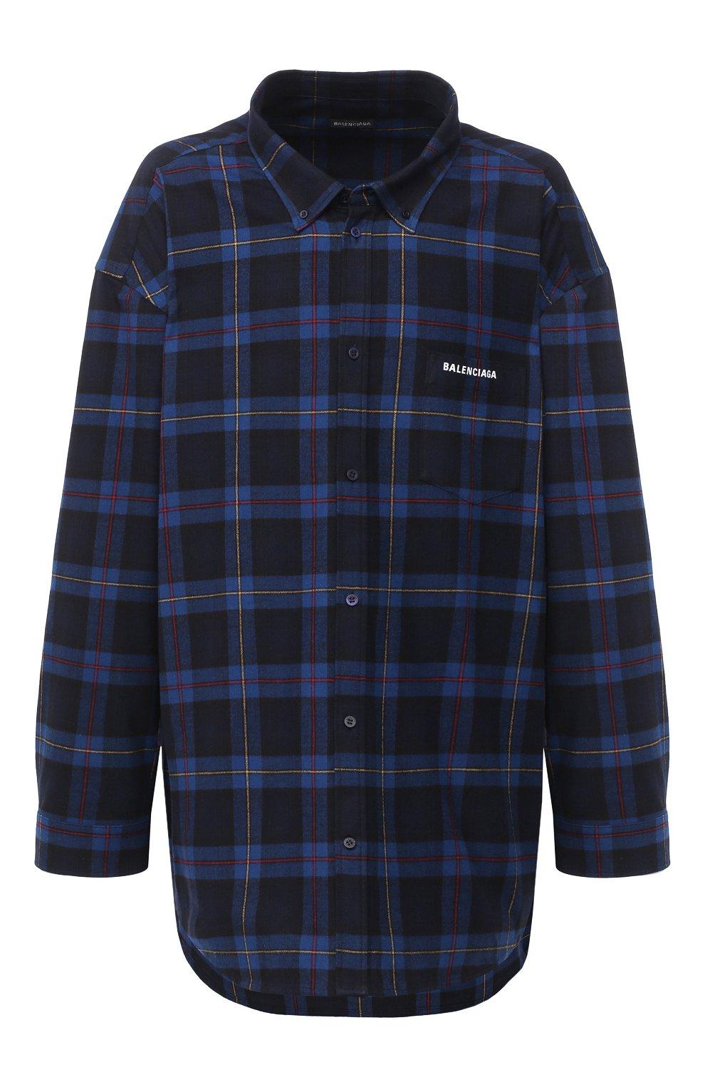 Мужская хлопковая рубашка BALENCIAGA темно-синего цвета, арт. 625548/TIM19   Фото 1