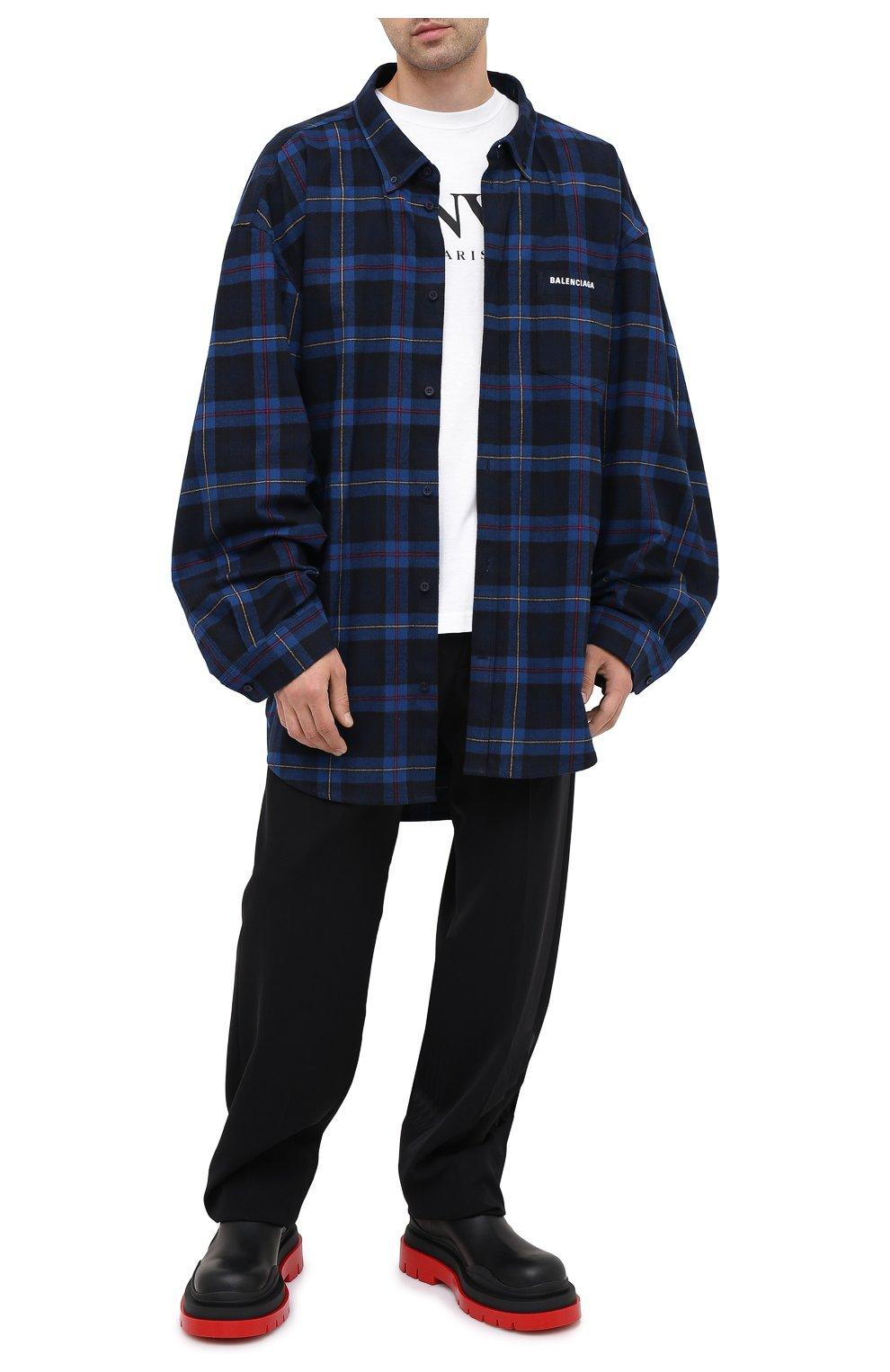 Мужская хлопковая рубашка BALENCIAGA темно-синего цвета, арт. 625548/TIM19   Фото 2