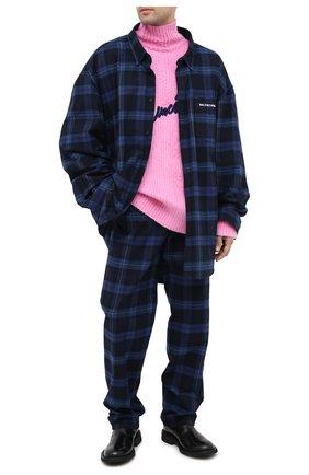 Мужская хлопковая рубашка BALENCIAGA темно-синего цвета, арт. 625548/TIM19   Фото 3
