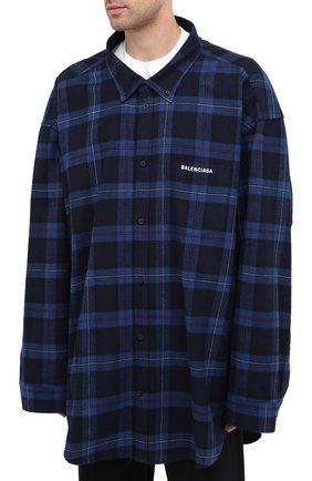 Мужская хлопковая рубашка BALENCIAGA темно-синего цвета, арт. 625548/TIM19   Фото 4