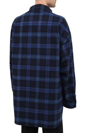 Мужская хлопковая рубашка BALENCIAGA темно-синего цвета, арт. 625548/TIM19   Фото 5