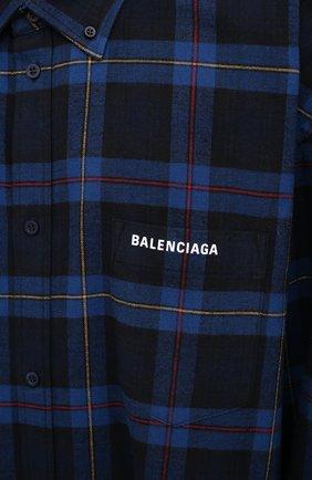 Мужская хлопковая рубашка BALENCIAGA темно-синего цвета, арт. 625548/TIM19   Фото 6