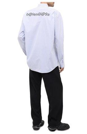 Мужская хлопковая рубашка BALENCIAGA голубого цвета, арт. 621924/TIM16   Фото 2