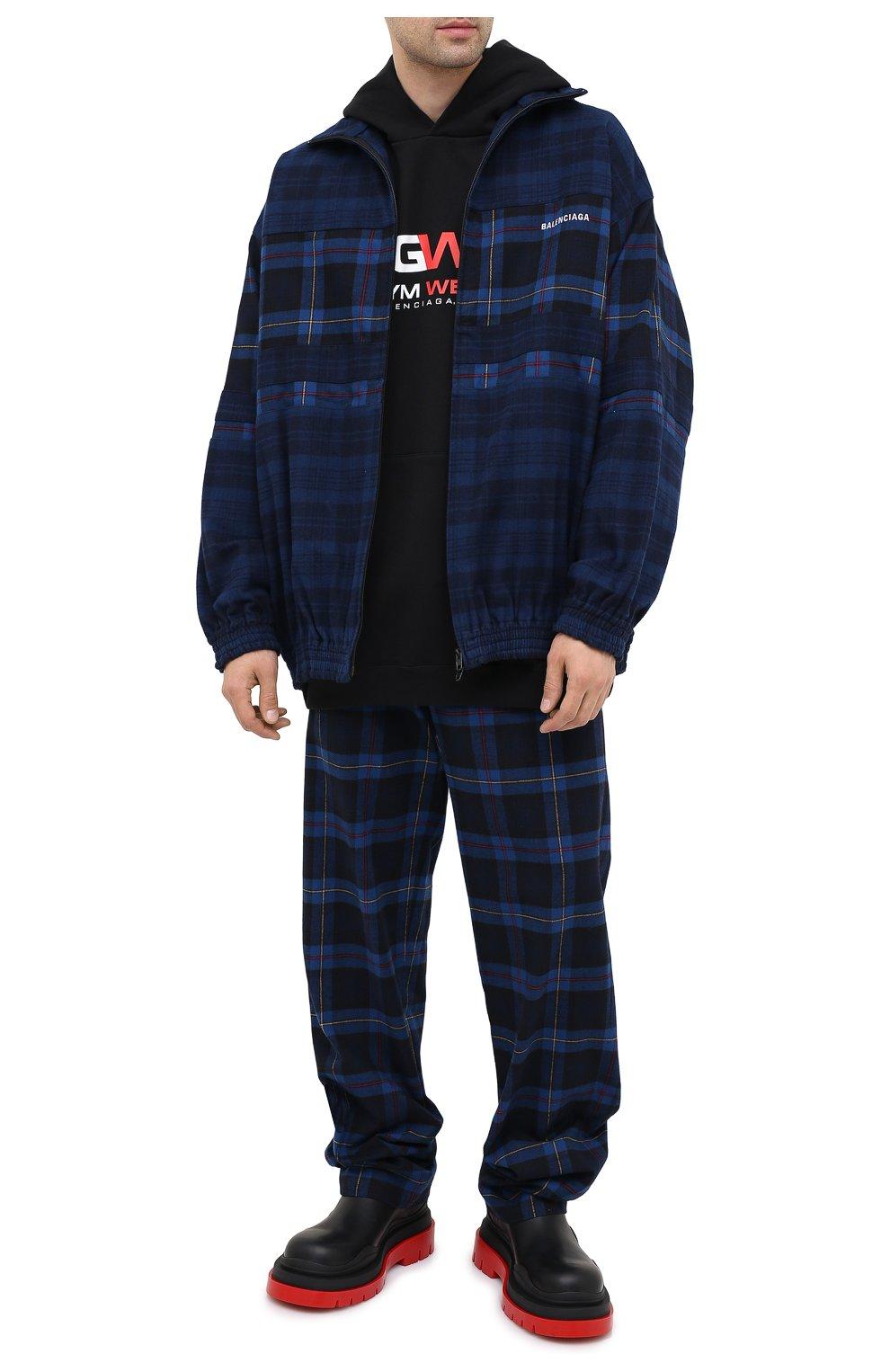 Мужские хлопковые брюки BALENCIAGA темно-синего цвета, арт. 608972/TIM19 | Фото 2