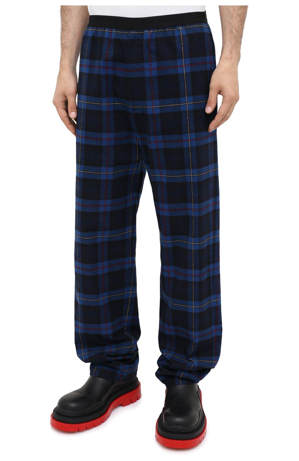 Мужские хлопковые брюки BALENCIAGA темно-синего цвета, арт. 608972/TIM19 | Фото 4