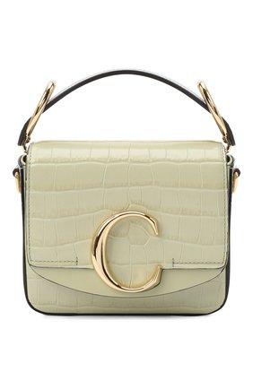 Женская сумка chloé c mini CHLOÉ светло-зеленого цвета, арт. CHC19US193A87   Фото 1