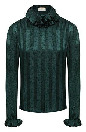 Женская шелковая блузка SAINT LAURENT зеленого цвета, арт. 633387/Y3B27 | Фото 1