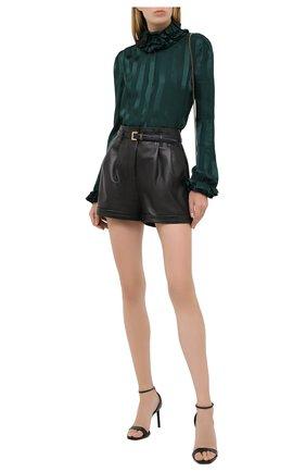 Женская шелковая блузка SAINT LAURENT зеленого цвета, арт. 633387/Y3B27 | Фото 2