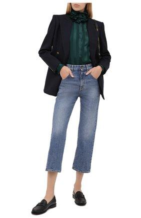 Женская шелковая блузка SAINT LAURENT зеленого цвета, арт. 633387/Y3B27 | Фото 3