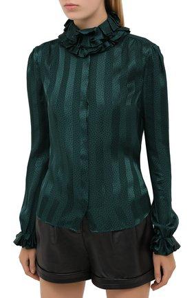 Женская шелковая блузка SAINT LAURENT зеленого цвета, арт. 633387/Y3B27 | Фото 4