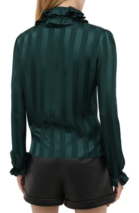 Женская шелковая блузка SAINT LAURENT зеленого цвета, арт. 633387/Y3B27 | Фото 5