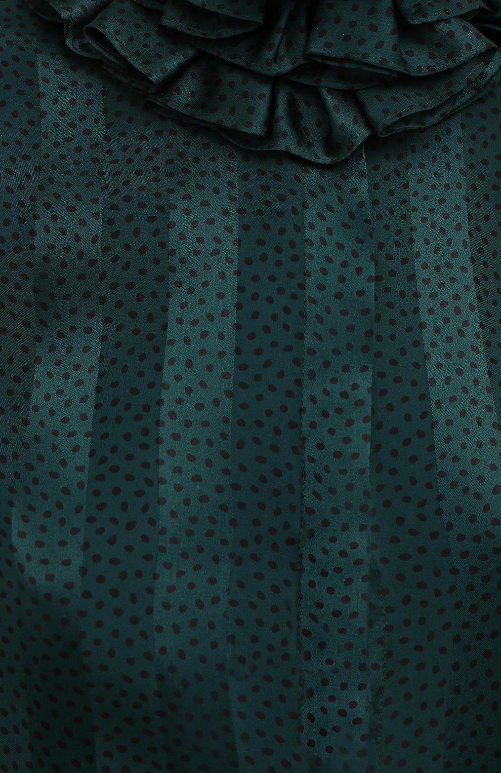 Женская шелковая блузка SAINT LAURENT зеленого цвета, арт. 633387/Y3B27 | Фото 6
