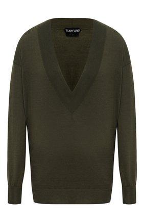 Женский пуловер из кашемира и шелка TOM FORD хаки цвета, арт. MAK912-YAX087 | Фото 1