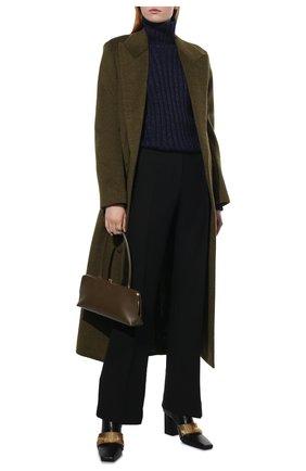 Женский свитер TOM FORD синего цвета, арт. MAK1020-YAX261 | Фото 2 (Материал внешний: Шерсть, Шелк; Рукава: Длинные; Длина (для топов): Стандартные; Стили: Кэжуэл, Минимализм, Классический; Женское Кросс-КТ: Свитер-одежда)